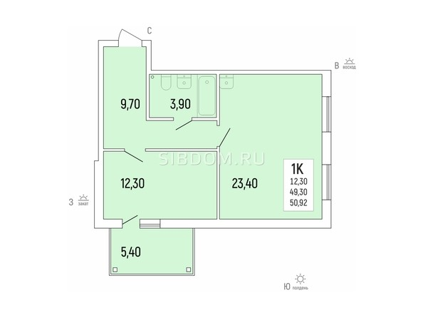 Планировка 1-комн 50,92 м²