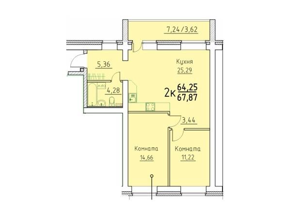 2-комнатная 67.87 кв.м