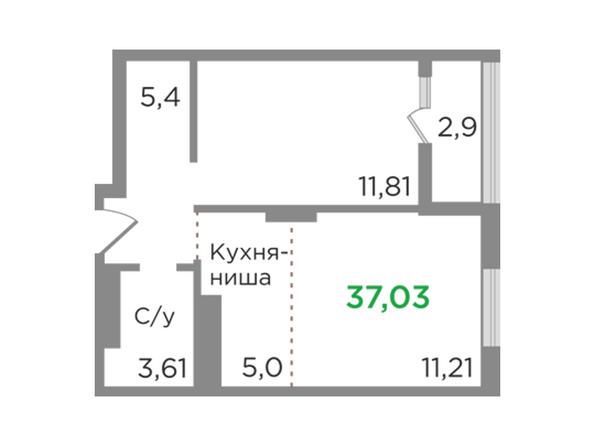 Планировки Жилой комплекс ЯСНЫЙ БЕРЕГ, дом 12 - Планировка двухкомнатной квартиры 37,03 кв.м