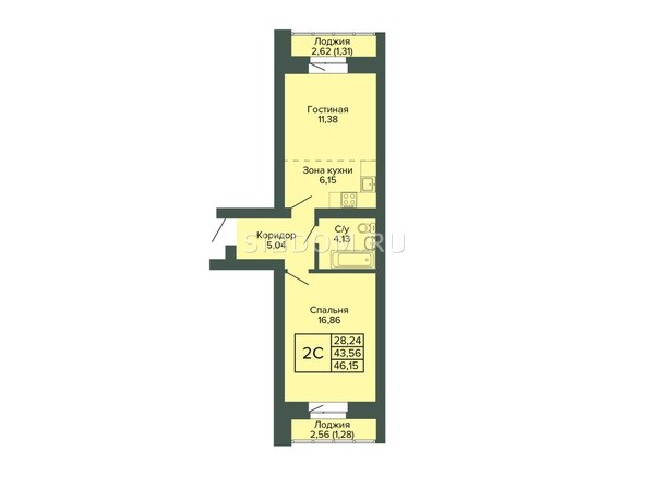 Планировка 2-комн 46,15 м²