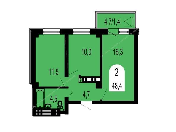 Планировки Жилой комплекс ТИХИЕ ЗОРИ, дом 1 (Красстрой) - Планировка двухкомнатной квартиры 48,4 кв.м