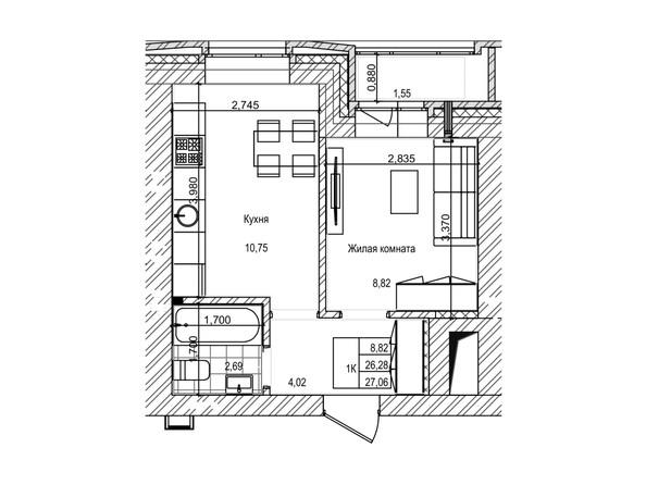Планировка 1-комн 26,2 - 26,8 м²