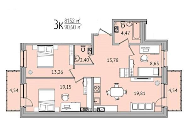 3-комнатная 90,6 кв.м