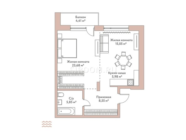 Планировка 2-комн 59,11 м²