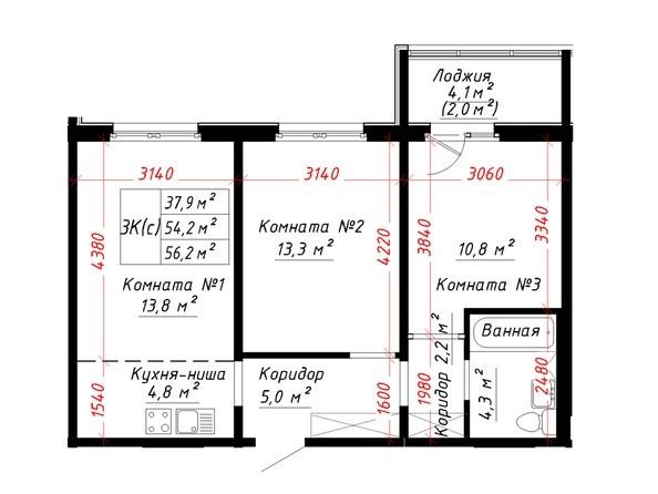 Планировка 3-комн 56,2 м²