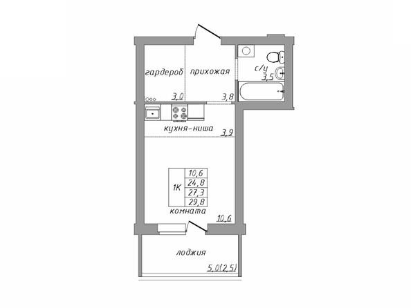Планировка 1-комн 0 - 29,8 м²