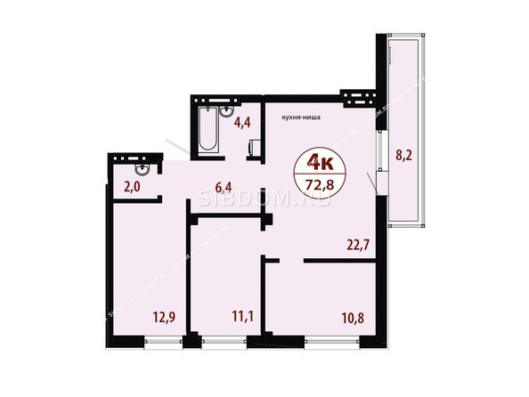Планировки Жилой комплекс СЕРЕБРЯНЫЙ, квр 1, дом 1 - Секция 3. Планировка четырехкомнатной квартиры 72,8 кв.м