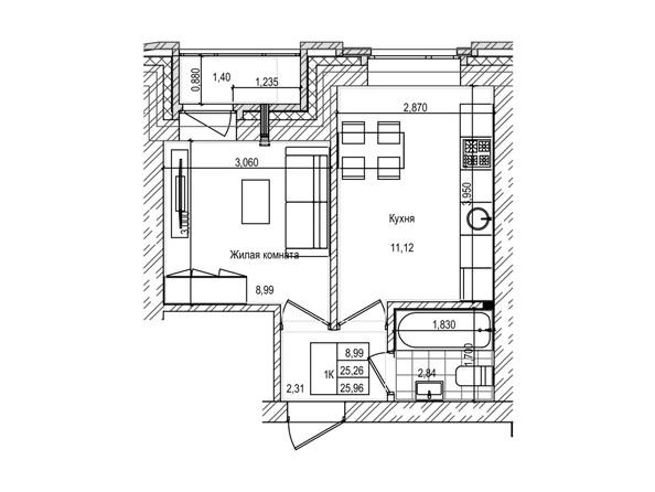 Планировка 1-комн 25,2 м²