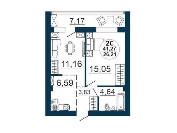 Планировка 2-комн 41,27 м²