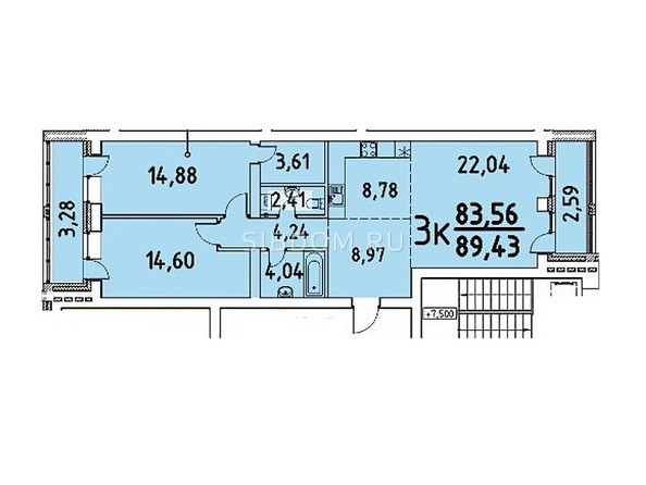 3-комнатная 83.56; 89.43 кв.м