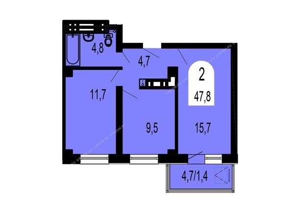 Планировки Жилой комплекс ТИХИЕ ЗОРИ, дом 1 (Красстрой) - Планировка двухкомнатной квартиры 47,8 кв.м
