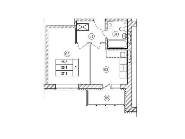 Планировки Жилой комплекс ВЕРХНИЙ БУЛЬВАР, 7 дом, б/с а,б,в - Планировка однокомнатной квартиры 37,1 кв.м