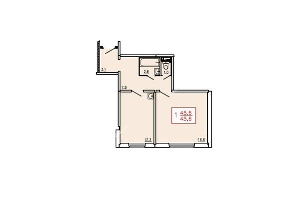 Планировки Жилой комплекс ТИХИЕ ЗОРИ, дом 6 - Планировка однокомнатной квартиры 45,6 кв.м. 1 этаж