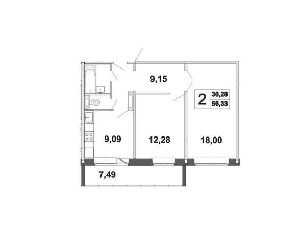Планировки Жилой комплекс ЗЕЛЁНЫЕ ГОРКИ, КПД-21 - Планировка двухкомнатной квартиры 56,33 кв.м