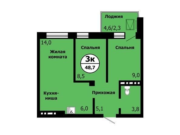 Планировка 3-комн 48,7 м²