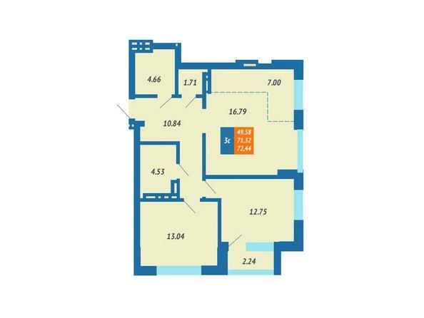 Планировка 2-комн 72,44 м²
