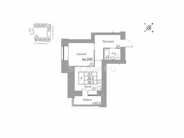 Планировки ДВЕ ЭПОХИ, корпус 1 - Планировка однокомнатной квартиры 38,3 кв.м