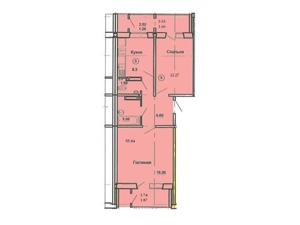 Планировка 2-комн 55,84 м²