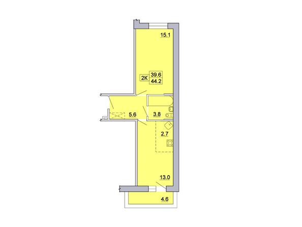 2-комнатная 44,2 кв.м