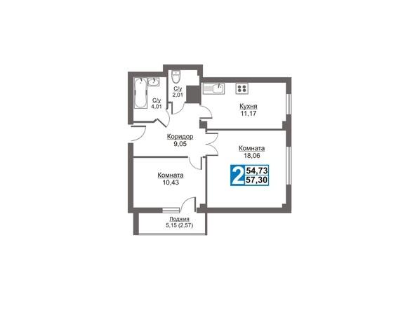 Планировки Жилой комплекс Калинина, 47б, дом 2 - Планировка двухкомнатной квартиры 57,3 кв.м