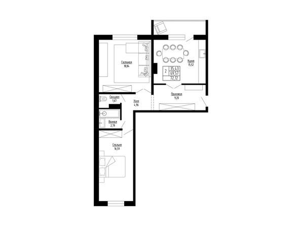 2-комнатная 72 кв.м
