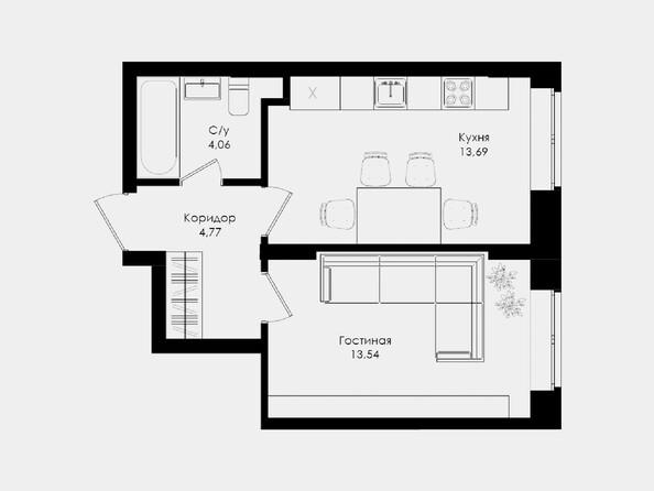 Планировки Жилой комплекс ЛОМОНОСОВ - 1-комнатная 36,06 кв.м