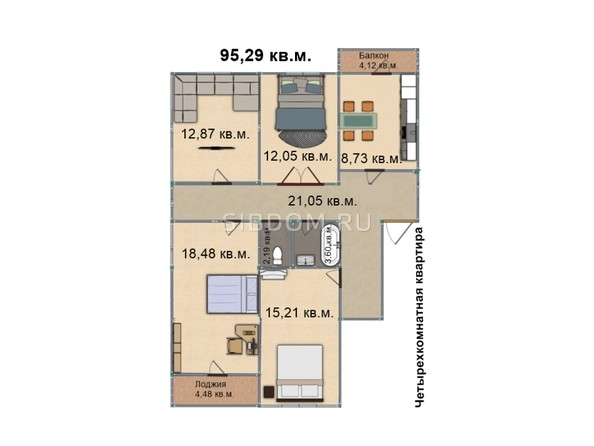 Планировка 4-комн 95,13 - 95,29 м²