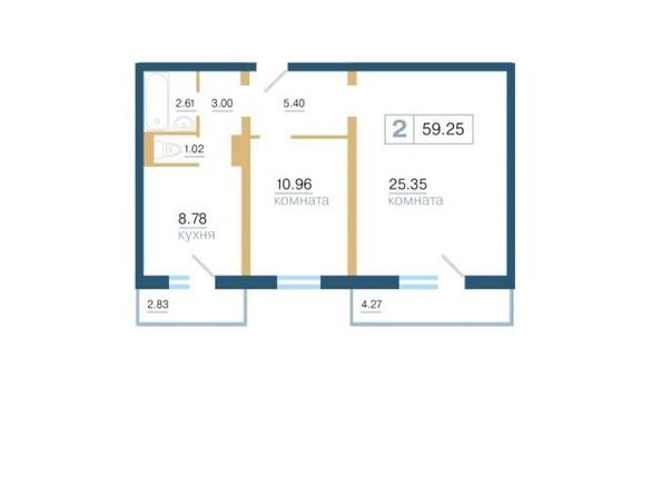 Планировка 2-комн 59,25 м²