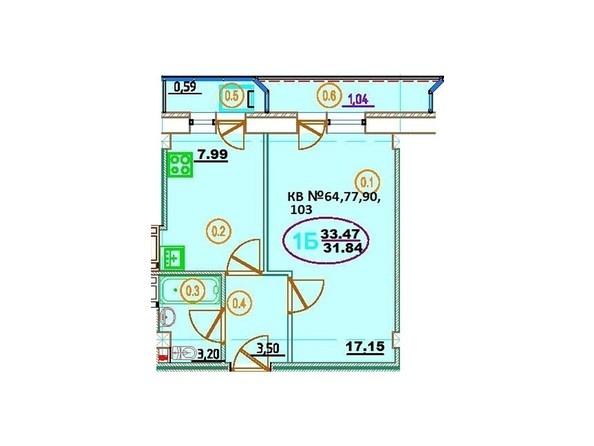 Планировка 1-комн 33,47 м²
