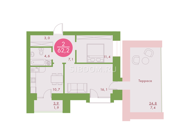 2-комнатная 62,2 кв.м