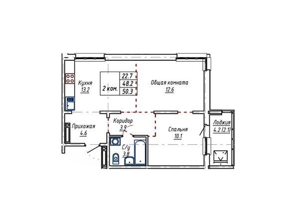Планировка двухкомнатной квартиры 50,3 кв.м