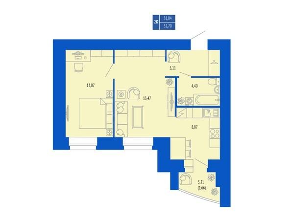 2-комнатная 51.5; 52.7 кв.м