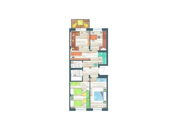 Планировки Жилой комплекс ЖИВЁМ эко-район, 3 квартал, дом 1 - Планировка трехкомнатной квартиры 73,17 кв.м