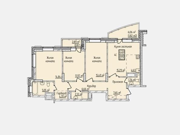 Планировки Жилой комплекс ПРОСВЕЩЕНИЕ - Планировка четырехкомнатной квартиры 92,75 кв.м
