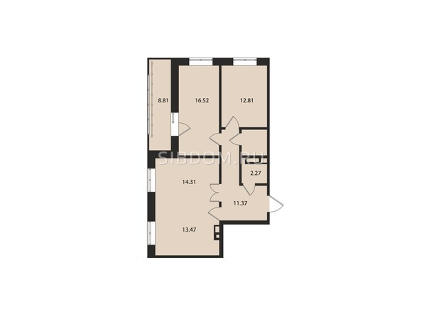 Планировки Жилой комплекс ВДОХНОВЕНИЕ - Планировка трехкомнатной квартиры 82,8 кв.м