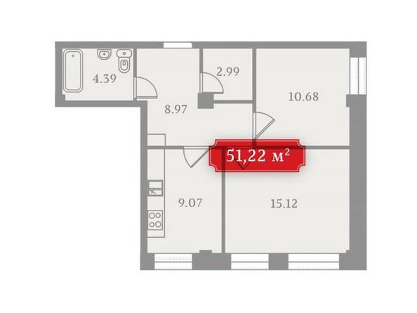 Планировки Жилой комплекс УСПЕНСКИЙ-3, б/с 2 - Планировка двухкомнатной квартиры 51,22 кв.м