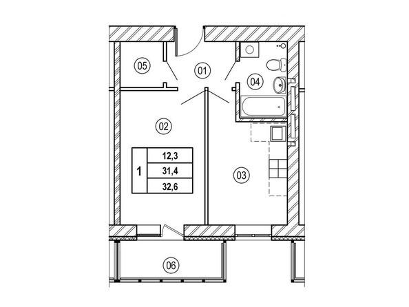 Планировки Жилой комплекс ВЕРХНИЙ БУЛЬВАР, дом 3, Б/С «В» и «Г» - Планировка однокомнатной квартиры 32,6 кв.м