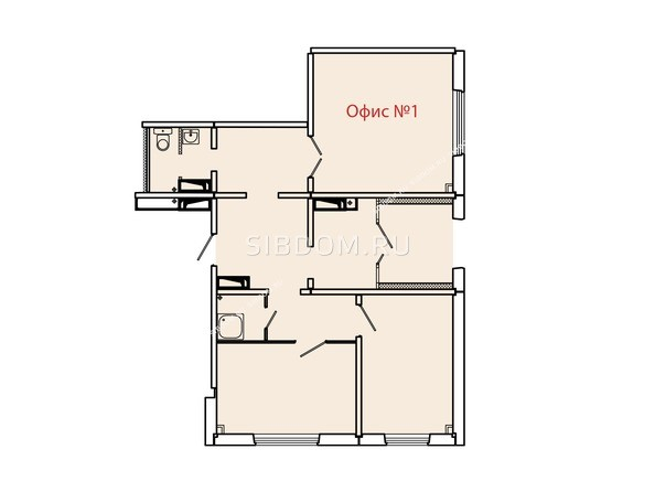 Планировки Жилой комплекс КУРЧАТОВА, дом 6, стр 2 - Планировка офисного помещения №1
