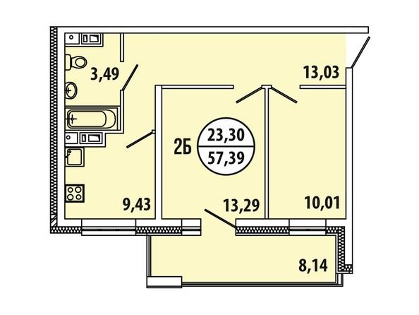 Планировка 2-комн 57,39 м²