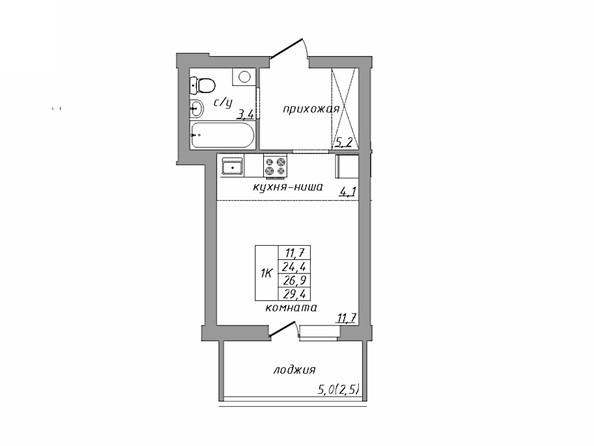 Планировка 1-комн 29,4 м²