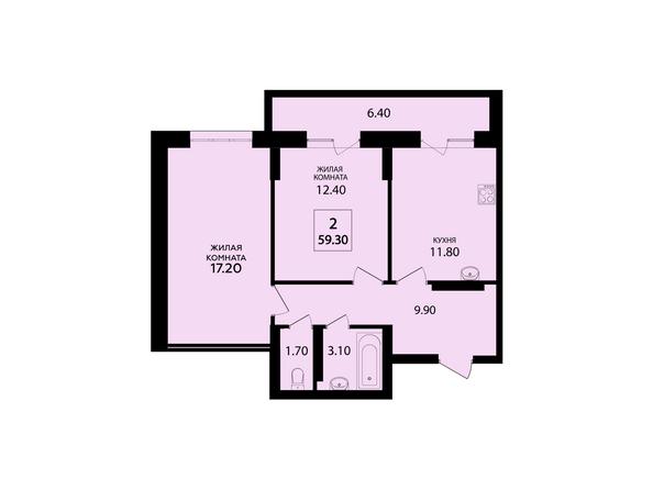 Планировки Жилой комплекс VIVANOVA (Виванова) - Планировка двухкомнатной квартиры 59,3 кв.м
