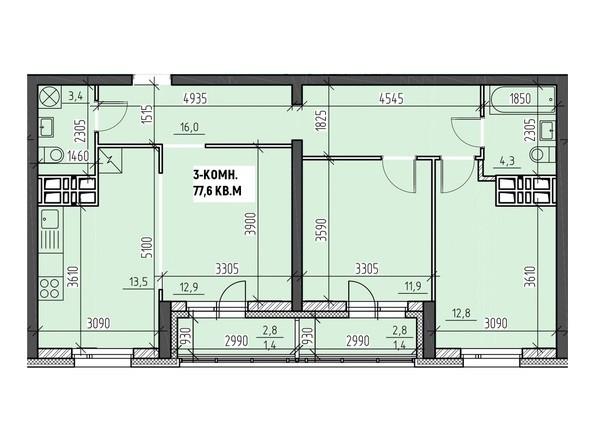 Планировки Жилой комплекс НА ВЫСОТЕ, 2 этап - Планировка трехкомнатной квартиры 77,6 кв.м