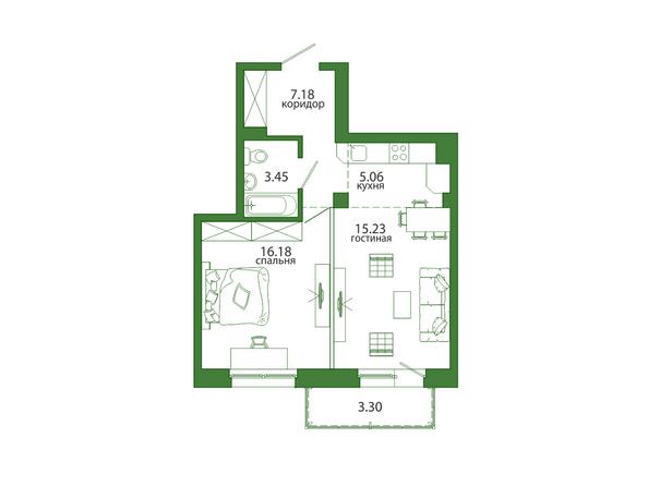 2-комнатная 50,4 кв.м