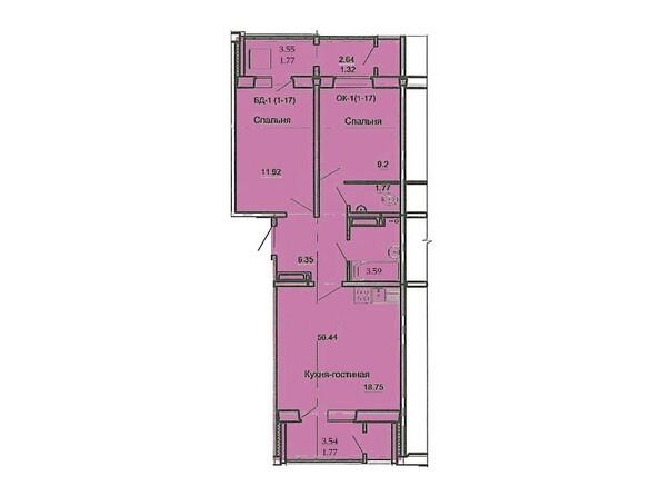 Планировка 3-комн 56,44 м²