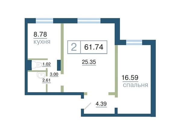 Планировка 2-комн 61,74 м²