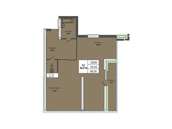 Планировки Жилой комплекс PRIME HOUSE (Прайм хаус) - Планировка однокомнатной квартиры 93,59 кв.м