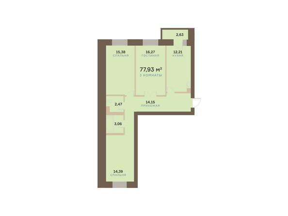 Планировки Жилой комплекс АЛЕКСАНДРОВСКИЙ, дом 1 - 3-комнатная 77,93 кв.м