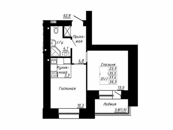 Планировка 2-комн 37,4, 39,3 м²