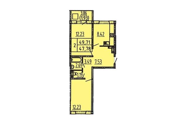 2-комнатная 47 - 49 кв.м
