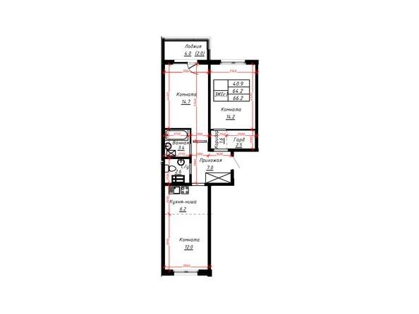 3-комнатная 66,2 кв.м